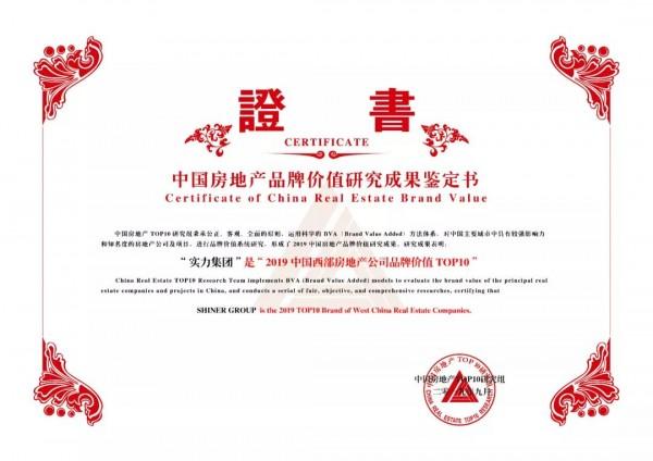 实力集团2019中国西部房地产公司品牌价值TOP10