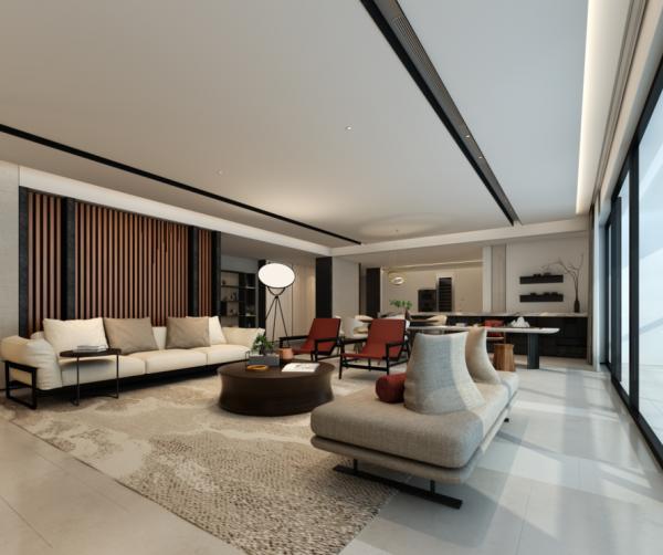 鸿艺源设计案例之华润悦府客厅效果图