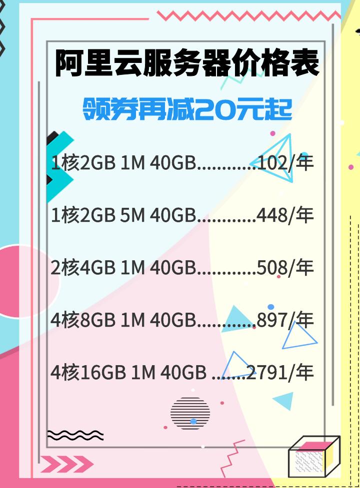 阿里云服务器1折优惠活动价格表,1核2G每月只要6.8元